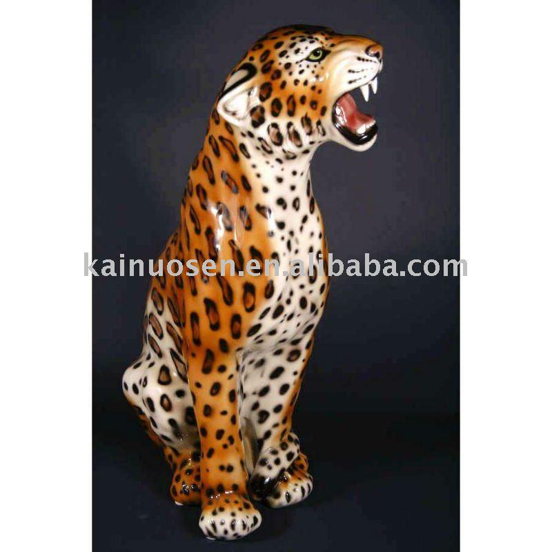 Animada de cer mica estatuilla de leopardo la decoraci n for Decoracion hogar leopardo