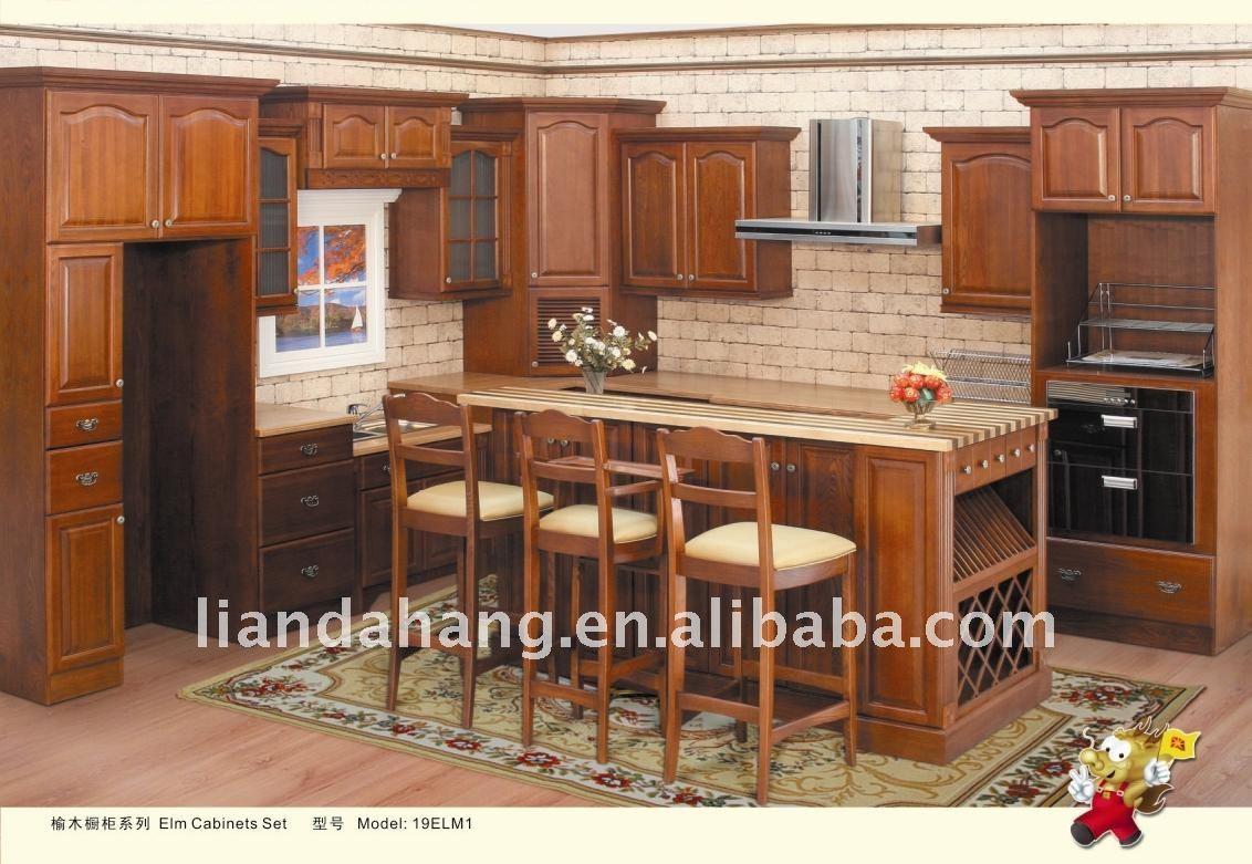 Moderno gabinete de cocina de caoba gabinetes de la for Gabinetes de cocina modernos