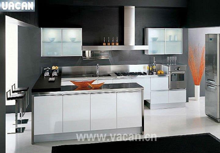 Gabinetes Para Baño Aluminio:brillo de laca gabinetes de cocina de aluminio con vidrio de la puerta