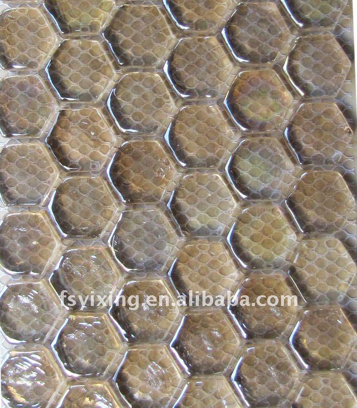 Hexagonal de color rosa vitrificados azulejos de mosaico for Azulejo vitrificado
