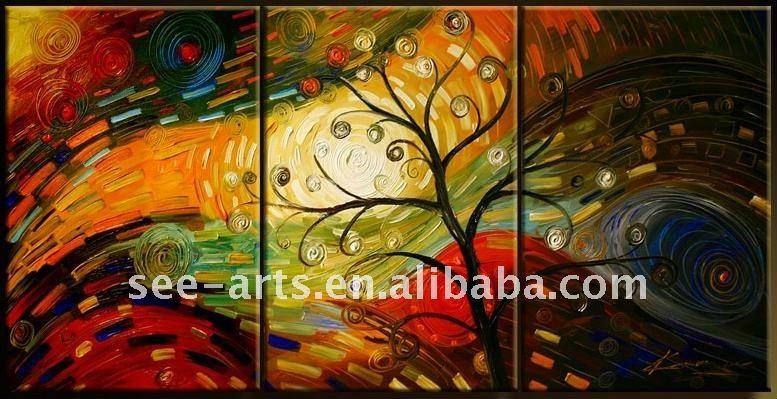 pintura al óleo abstracta moderna de los árboles - spanish.