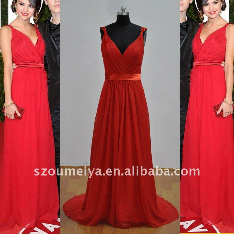 Vestido longo vermelho selena gomez