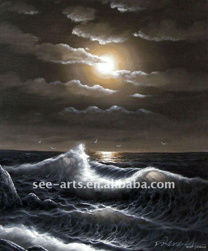 Playa luna llena las olas del mar pintura al óleo sjl-0169