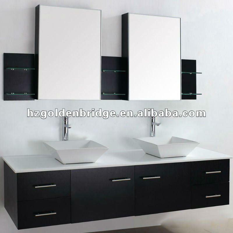 Muebles De Baño Doble Lavabo:Baño de lujo vanidad lavabo doble P002-Cuarto de baño Gabinete