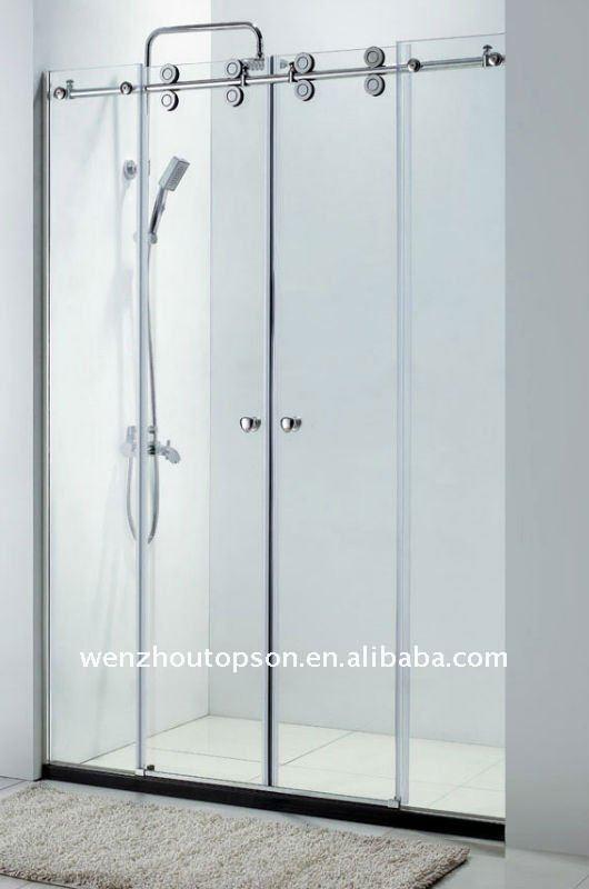 Cloison de verre porte coulissante portes des salle de - Porte de douche en verre coulissante ...