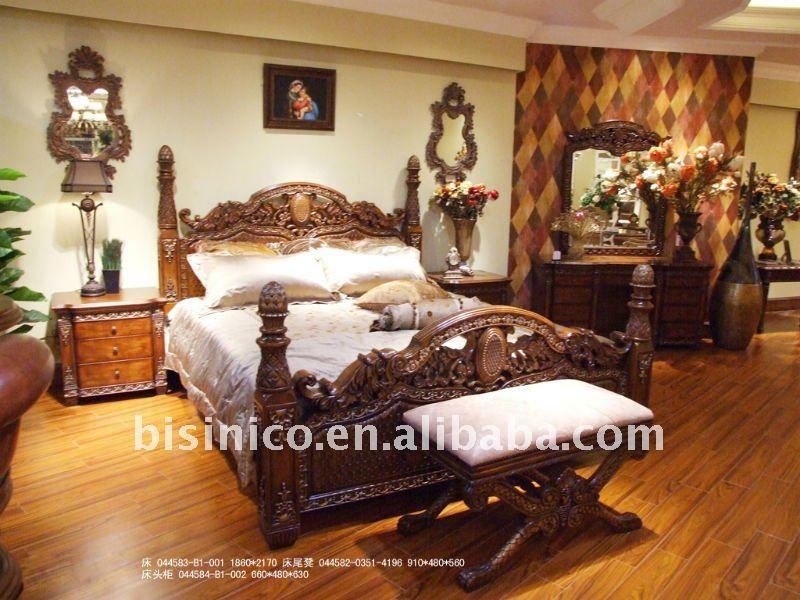 Antig edades de lujo juego de dormitorio reina de cama dormitorio de banco de noche tallada - Bancos para dormitorio matrimonio ...