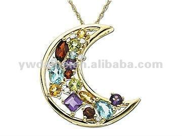 Pendant multicolore de forme de pendant/lune de diamants/bijoux de mode