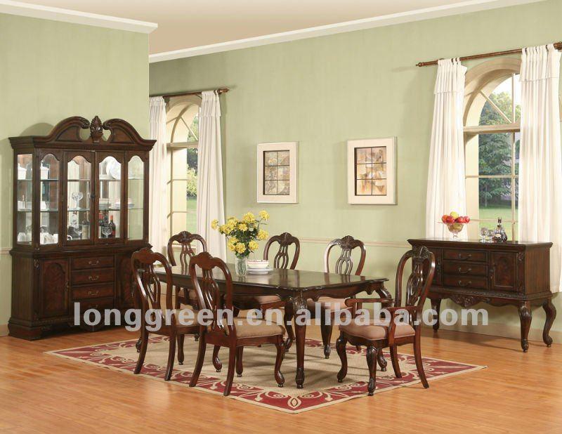 Antique style long cerise bois salle manger tables table for Model de table a manger en bois