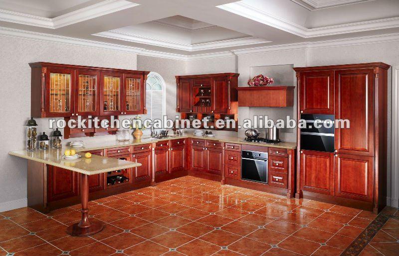 Cuisine moderne en bois rouge avec des for Cuisine gravouille
