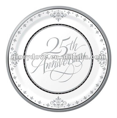 Bodas de plata de papel de platos de postre - - 25th aniversario