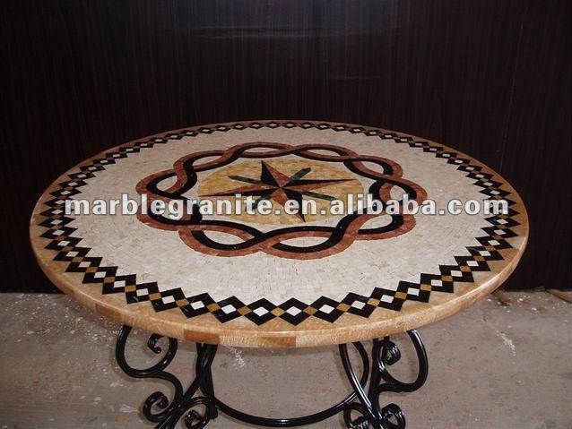 Lucido porcellana rotondo tavolo mosaico mosaico id for Tavolo rotondo mosaico
