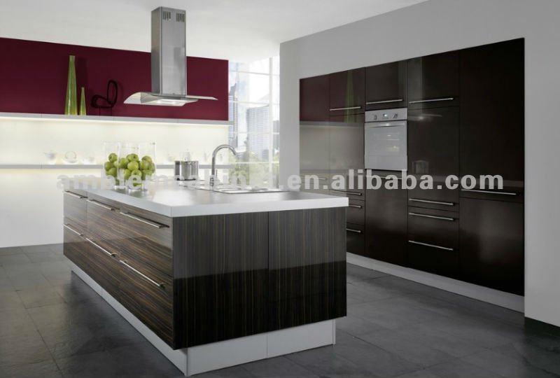 De alto brillo de color de madera melamina gabinetes de la for Gabinetes de cocina en melamina