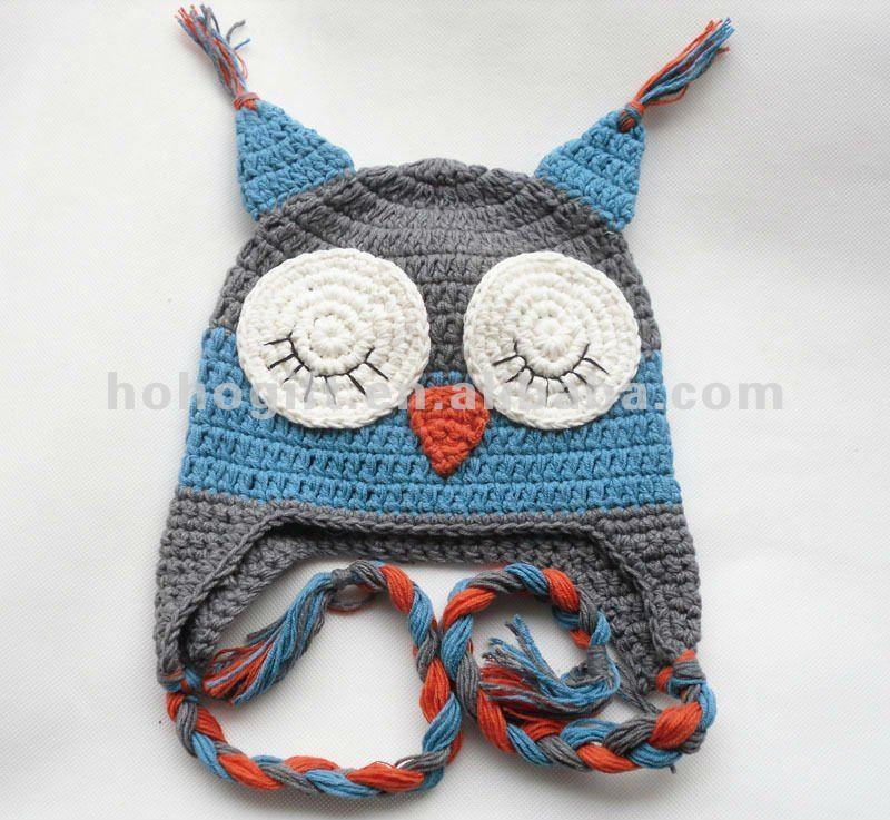 recién nacido de ganchillo búho bebé sombrero plano oído owl006 ...