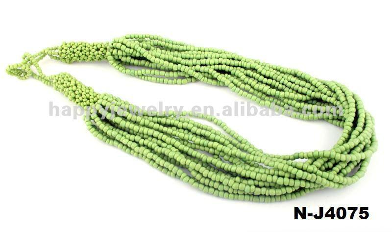 Мода чувствительная благородный перекрываются зеленый ювао бисер ожерелье