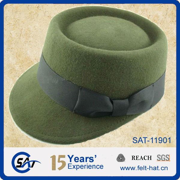 Las señoras de moda 100% gorro de lana de color verde de fieltro ...
