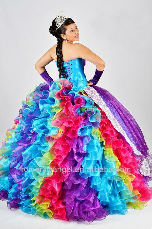 Imágenes de vestidos de 15 años arcoiris - Imagui
