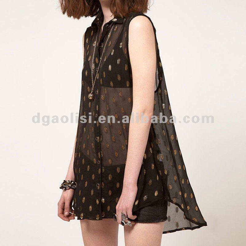 de moda de lujo semi pura gasa sin mangas polka impreso blusas
