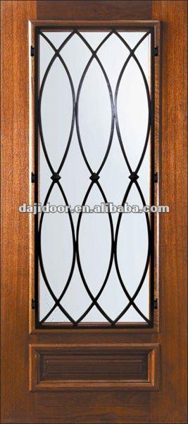 Madera con marco hierro forjado cristal puertas genuardis for Puertas madera y hierro forjado