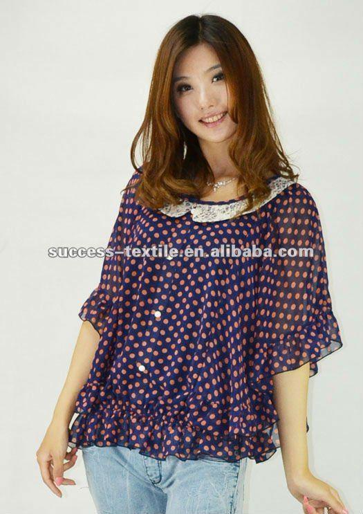 Moda Ladies Impreso Bola Gasa Poliester Blusa Con Alas Picture