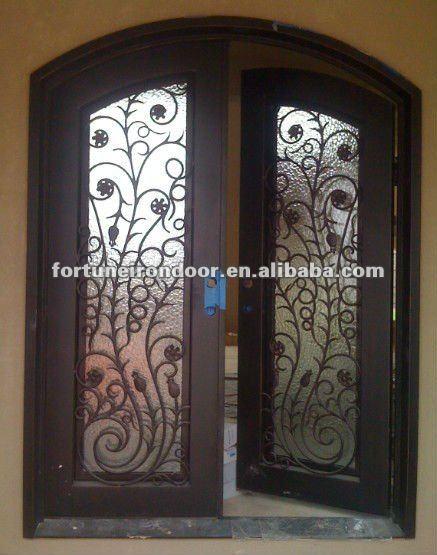 Forjado puerta de entrada de hierro comercial doble for Puertas de entrada con vidrio