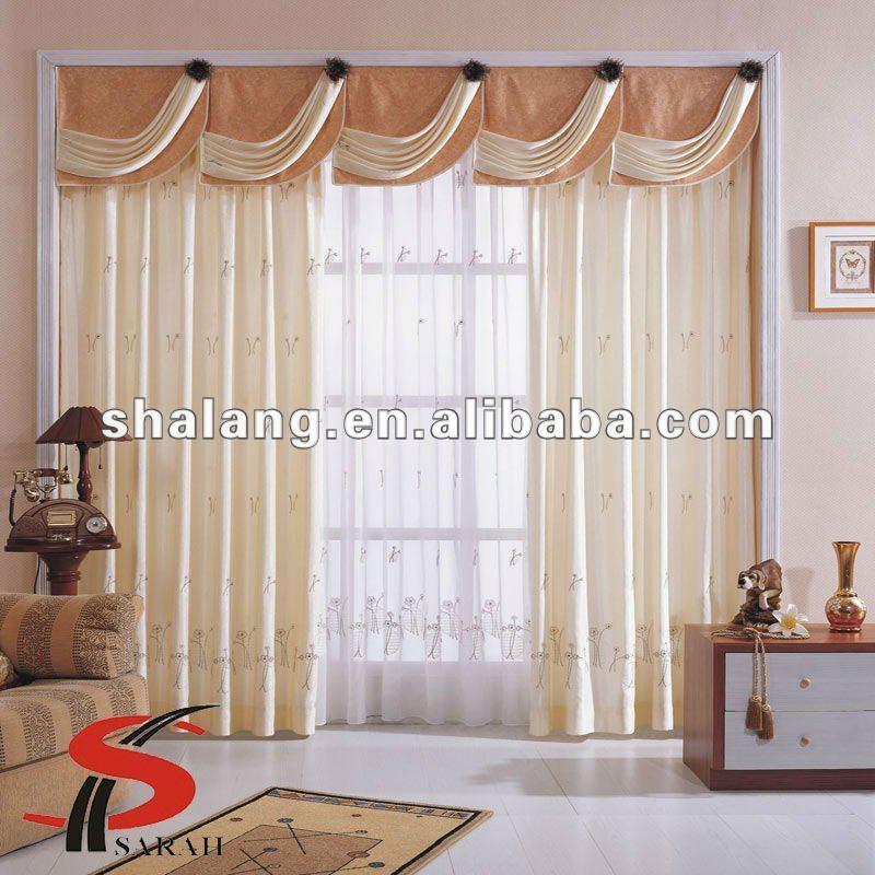 estilo de jacquard lujoso blackout cortina de la ventana con cortinas