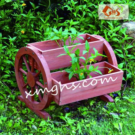 Carriola fioriera di legno vaso di fiori contenitore id for Fioriera carriola