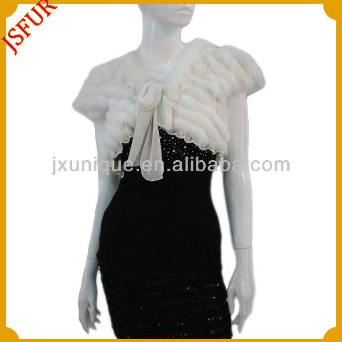 женская мода белым мехом лисы болеро с кружевной отделкой