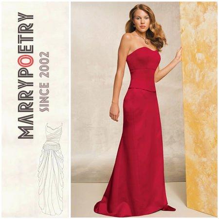Strapless Dress on Me1170 Bainha Strapless Sweetheart Popular Cetim Vermelho Vestido De