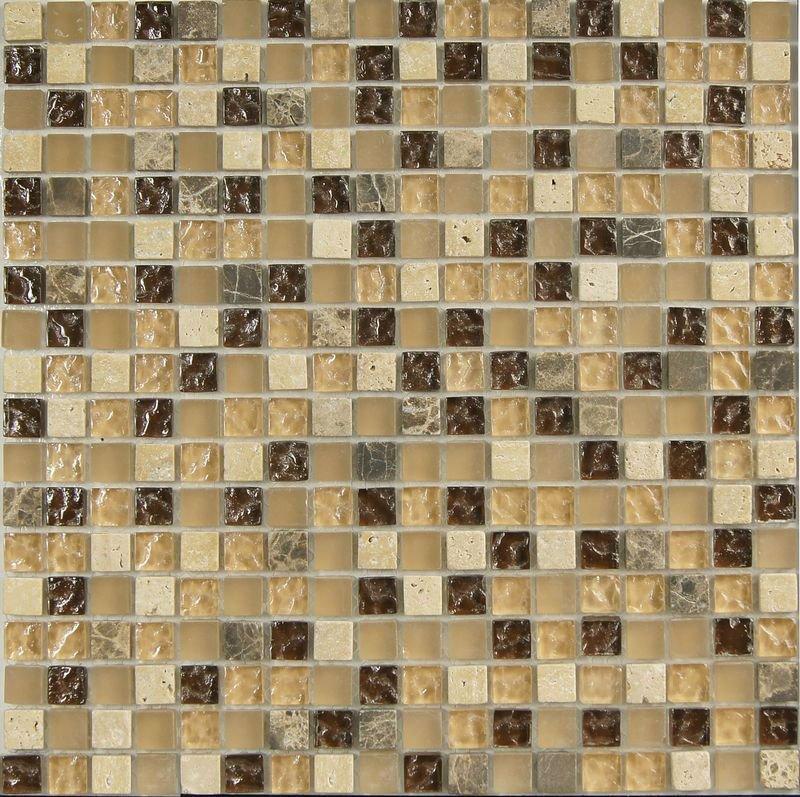 Brown & Beige Color mosaico mixto para azulejos del baño ...