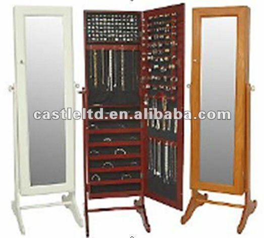 Bijoux en bois armoire glace stand bijoux miroir - Miroir coffret a bijoux ...