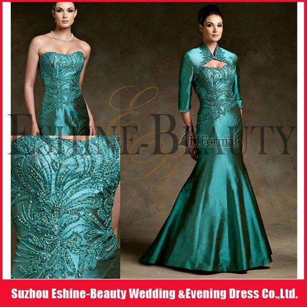 Elegante senza spalline ricamate verde satinato con bolero