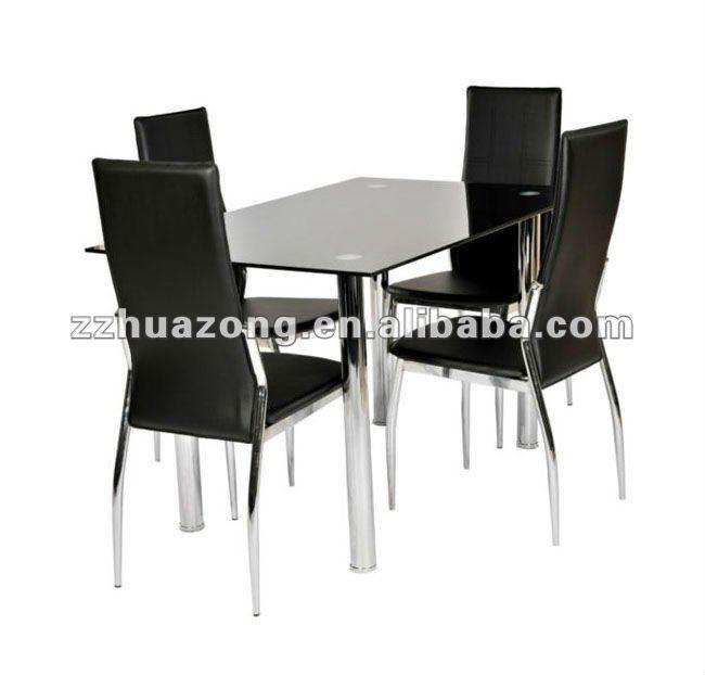Vidrio negro cromado rect ngulo mesa de comedor con 4 de - Mesa plegable con sillas dentro ...