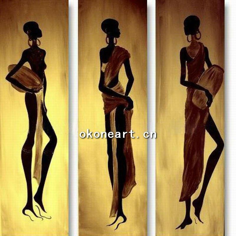 las mujeres africanas de pintura al óleo