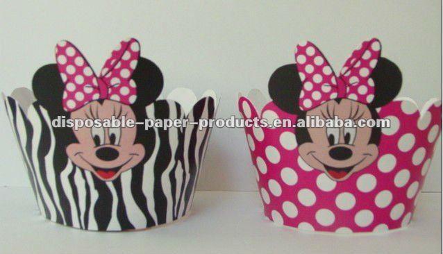 mouse decoraciones de la magdalena de minnie mouse envolturas de