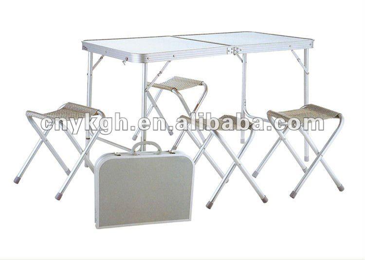 Alum nio folding mesa e cadeiras de praia conjuntos mesa - Mesa plegable con sillas dentro ...