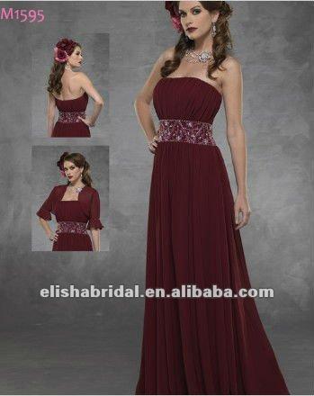 Chiffon Dress on Ampla J  Ias Cintura Frisada Chiffon Vinho Vermelho Vestidos De Noite