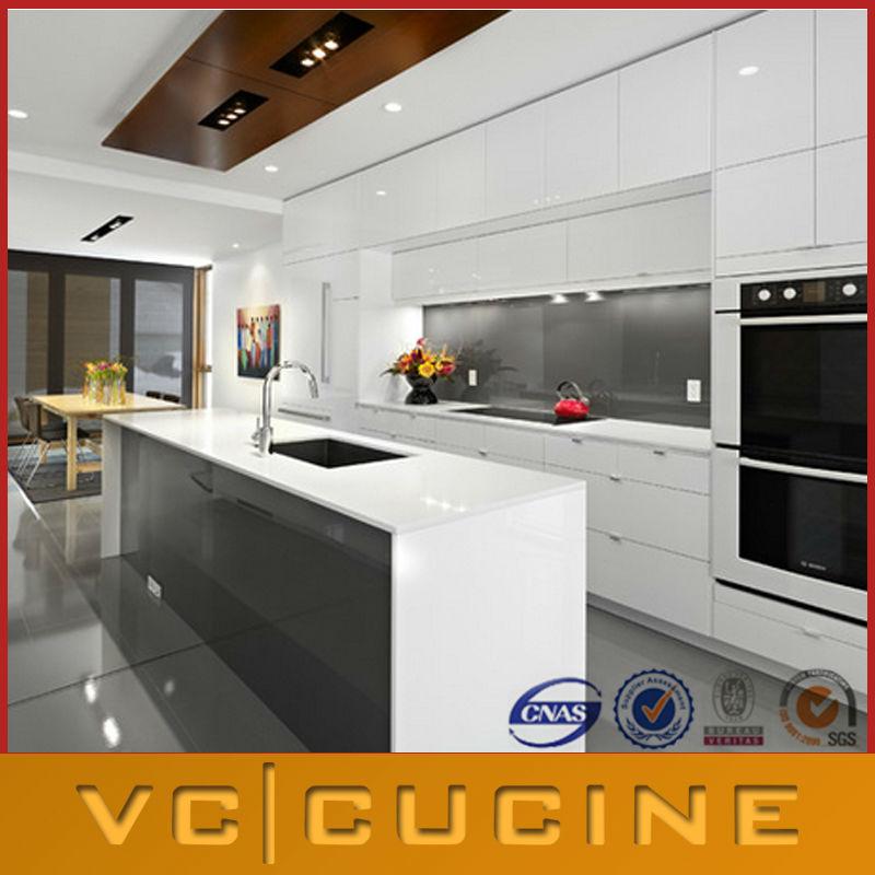 Est ndar de laca cocina con isla armarios gabinetes cocina - Fabricante de cocinas ...