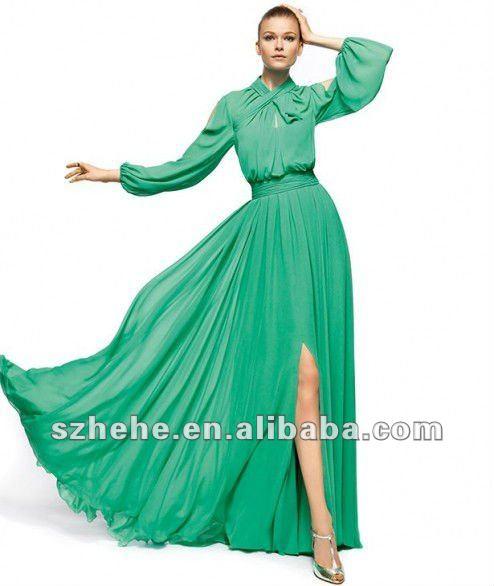 Шифоновое платье с длинным рукавом