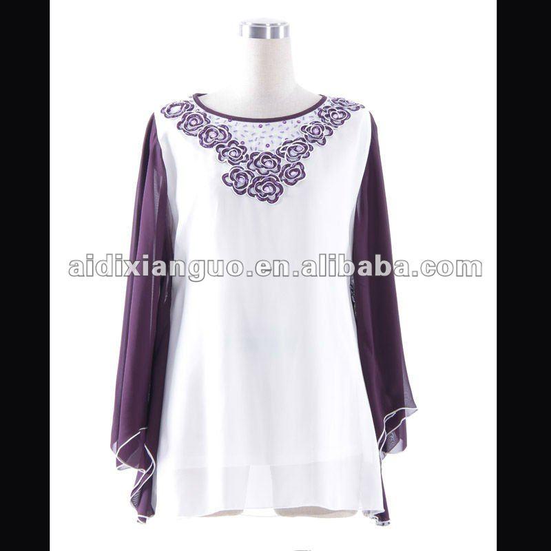 De la mujer de gasa blusa casual-- de dama de gasa para la ropa de
