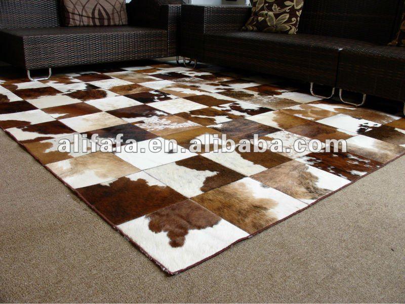 Genuino cuero de vaca alfombras alfombras patchwork - Alfombras piel de vaca ...