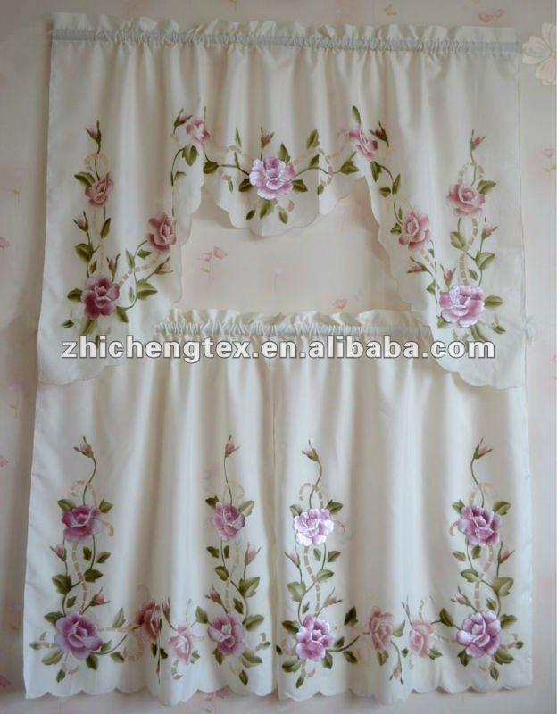 Cortinas De Baño Bordadas A Maquina:Bordado cortina de cozinha com padrões florais-Cortina-ID do produto