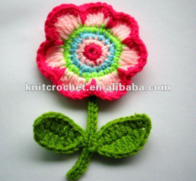 Вязание крючком аппликация цветы 57