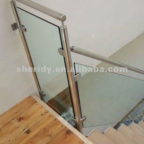De acero inoxidable escaleras de vidrio interior de vidrio - Pasamanos de cristal ...