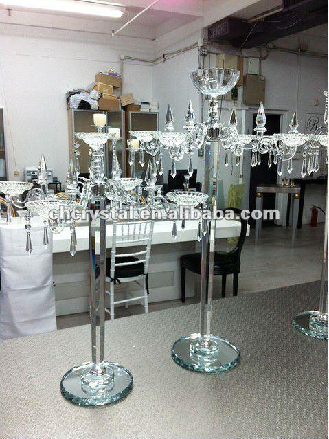 Cristal de los candelabros de la boda centros de mesa for Mesas de cristal para bodas