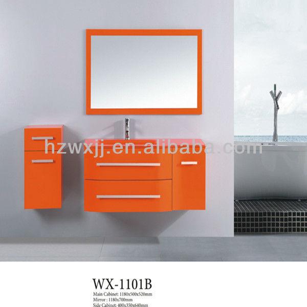 Cabinet de salle de bains peint orange de vanit wx 1101b for Cabinet de salle de bain