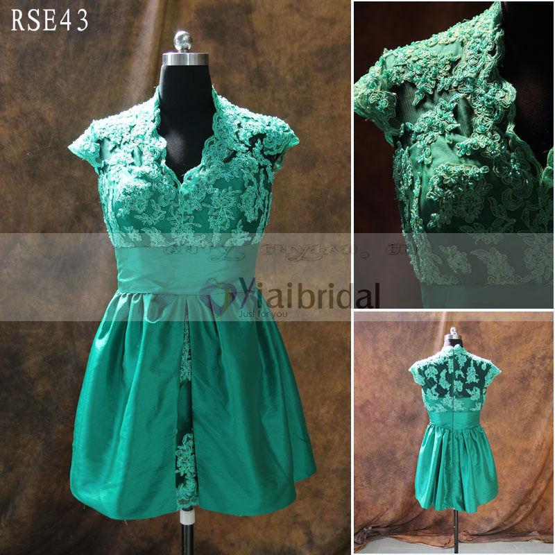 rse43 verde esmeralda v cuello de encaje por la ma ana vestido por la ma ana vestido. Black Bedroom Furniture Sets. Home Design Ideas