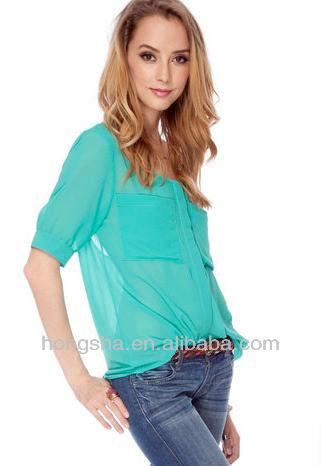 Los modelos 2013 de tela en blusas de gasa manga corta azul de ne n