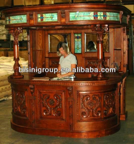 Bisini s lido de madera barra de bar bg500012 paquete de for Modelos de bar en madera rustica