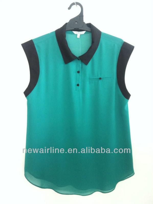 2014 nova moda mangas de cor matching chiffon blusa
