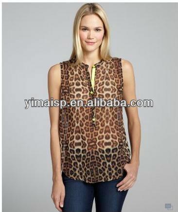 de la moda leopardo de impresión de los modelos de blusas de chifon